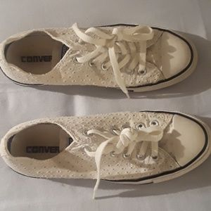 Converse All Stars White Eyelet Sneakers Size 7.5